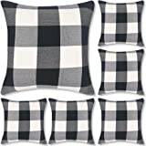 Decorbay Buffalo Check Plaid Throw Pillow Covers 18x18, Farmhouse Square Decorative Pillow Covers for Home Decor (Black and W