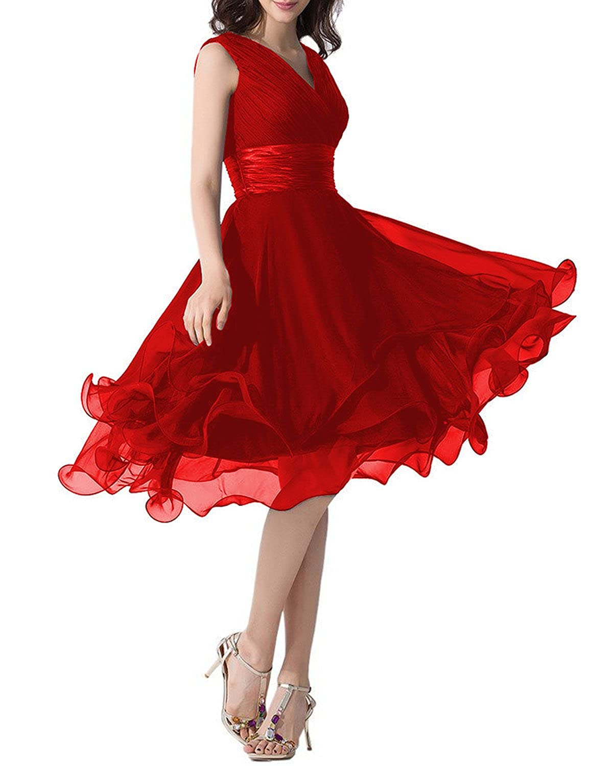 Red Monalia Women's Tulle Tea Length Prom Dresses Formal Evening Gown P152