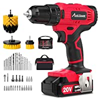AVID POWER 20V Cordless Drill, Lithium-ion Battery Power Drill/Driver with 41pcs Drill Bit Set, 3 Brushes, Variable Speed, 3/8'' Keyless Chuck,16 Position Drill Kit