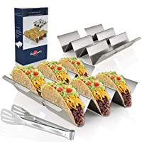 Taco Holder Stands, Set of 4 - Stainless Steel Taco Tray with Built-in Handle, Bonus...