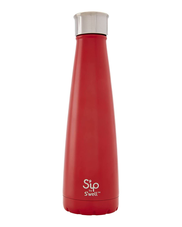 S 'ip por S 'well aislado botella de de botella agua de acero inoxidable de doble pared, 15 oz, Chili rojo por S 'ip por S 'well 478270
