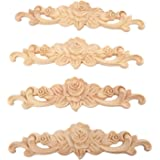 """MUXSAM 4Pcs Wood Carved Onlay Applique, 20x5cm/7.87""""x1.97"""", Unpainted Rose Flower Center Frame Decal for Furniture Door Cabin"""