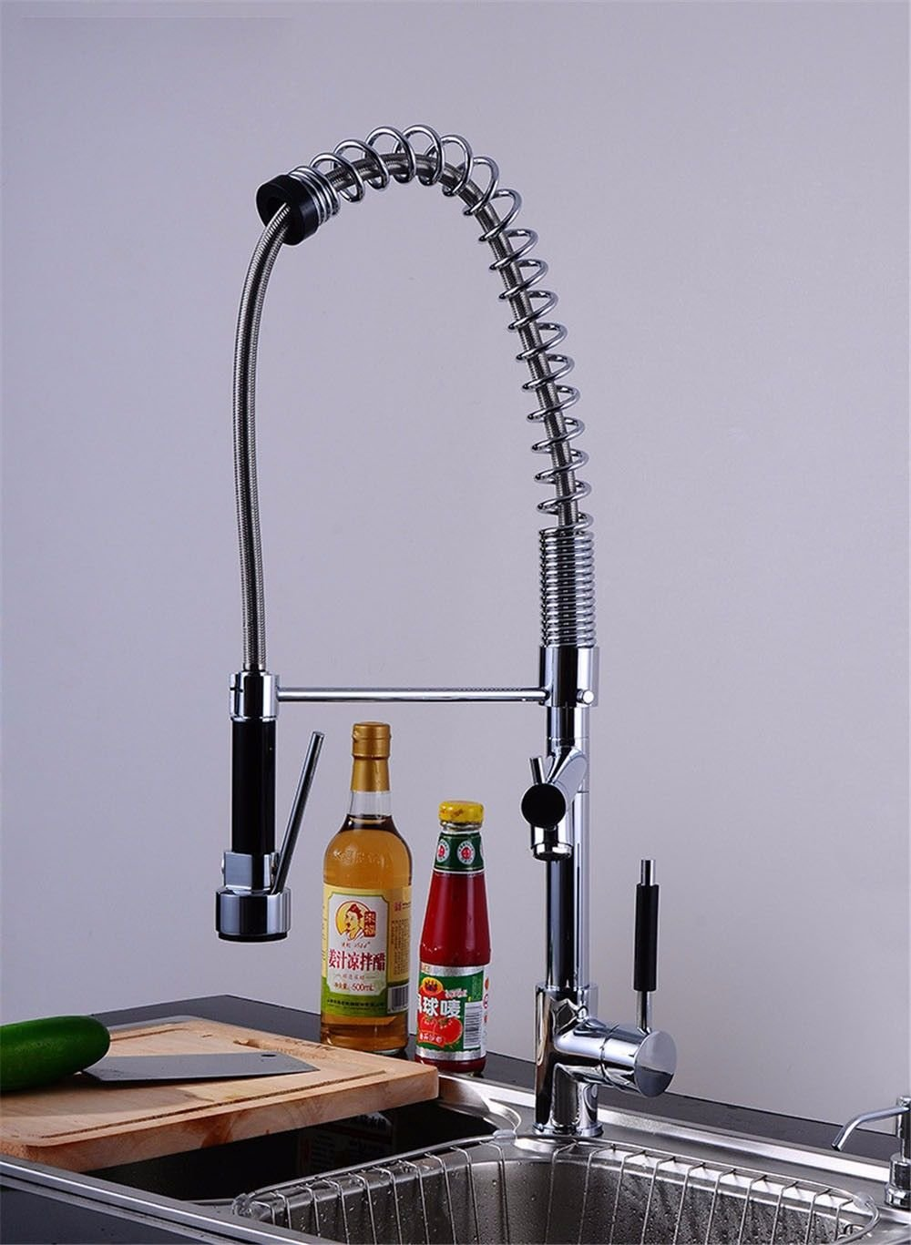 Hlluya Professional Sink Mixer Tap Kitchen Faucet Spring kitchen faucet dual water-cooled heat sink Chrome color redation