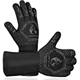 Homemaxs BBQ Gloves 1472℉ Extreme Heat Resistant Grill Gloves, Food Grade Kitchen Oven Mitts, Silicone Non-Slip Cooking Glove