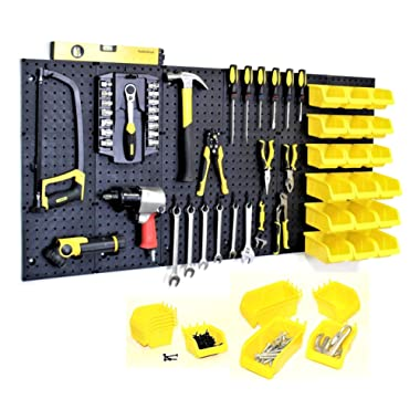 WallPeg Garage Storage System with Panels, Bins, Peg Board Hooks and Panel Set - Tool Parts and Craft Organizer (Kit with 18 Bins)