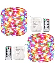 [2-Pack] 100 Led String Lights, Halloween Firefly Lights Battery Operated Waterproof Fairy String Lights Remote, 33 ft 8 Modes Copper Wire Christmas Indoor Outdoor Decor Lights (Multicolor)