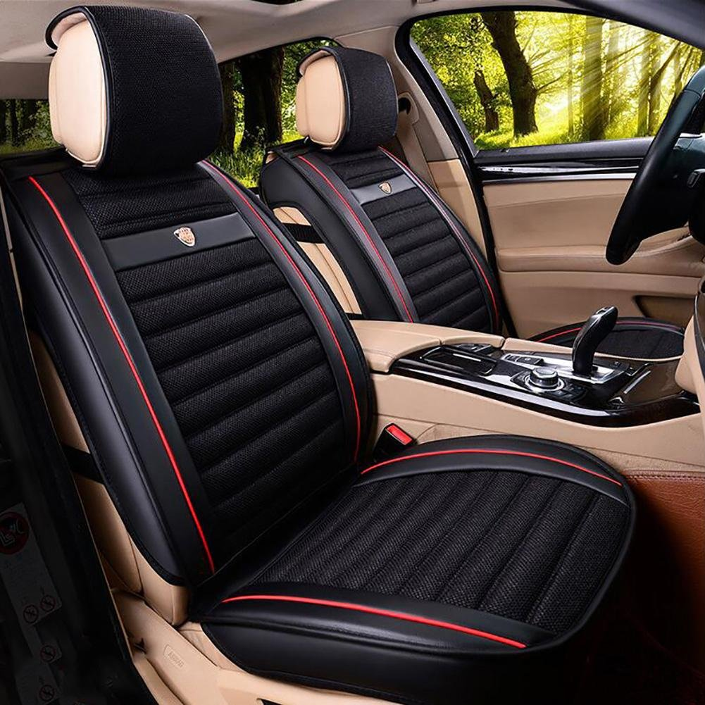 Auto Accessories The New Leather Linen Car Seat Cushion Seat Cover Seat Four Seasons General Surrounded by A Five Seat Headrest Backrest, Black, A