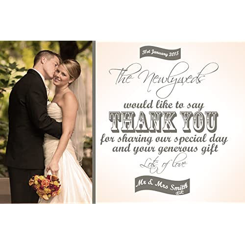 20 personalised photo vintage wedding thank you cards - Wedding Thank You Cards