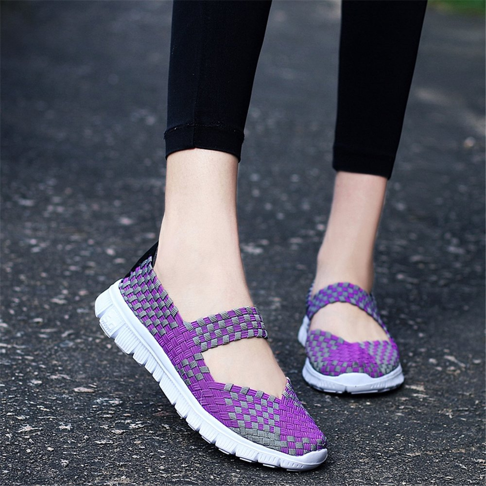 YMY Women's Woven Sneakers Casual Lightweight Sneakers - Breathable Running Shoes B07D5V2LF6 US B(M) 6.5 Women|Purple