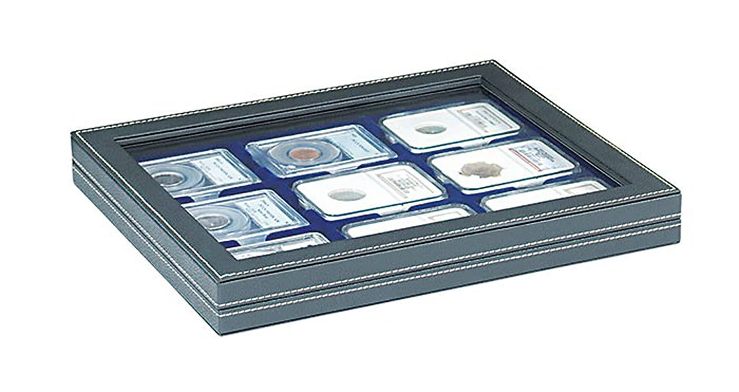 Lindner 2367-2219ME NERA M Plus Coin Case with a Dark Red Insert. Suitable for 9 Slabs up to a Size of 63 x 85 mm.