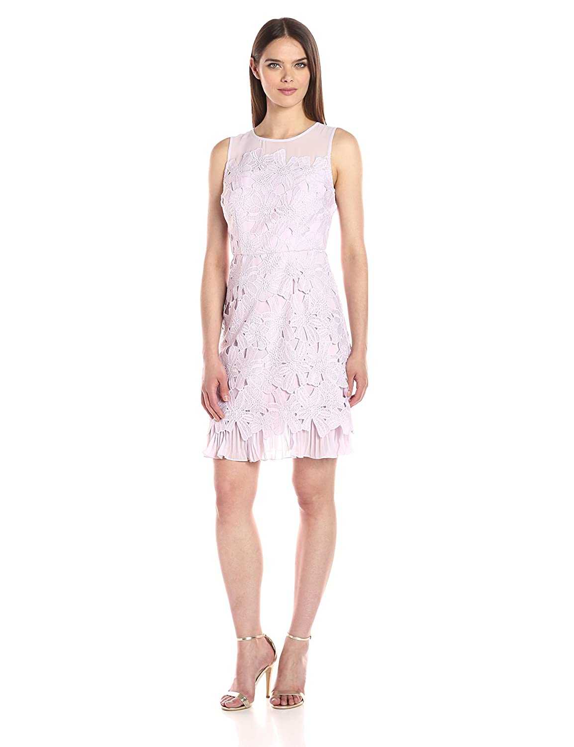 Lavender Mist Adrianna Papell Womens Celcelia Lace with Pleated Kick Skirt Dress