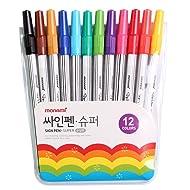 Monami Felt Tip Sign Pen Super Marker for Art Drawing Coloring Decorating - 12 Color Set