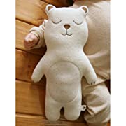 (Sleeping Bear)100% Organic Cotton Baby First Doll 13.7 inches (No Dyeing Natural Organic Cotton)
