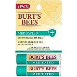 Burt's Bees 100% Natural Medicated Moisturizing Lip Balm with Menthol & Eucalyptus - 2 Tubes (02914)