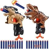 RUN BRAIN GO Juego de 2 pistolas de dinosaurio para niños con 20 balas de dardos de espuma suave, pistolas de juego de dispar