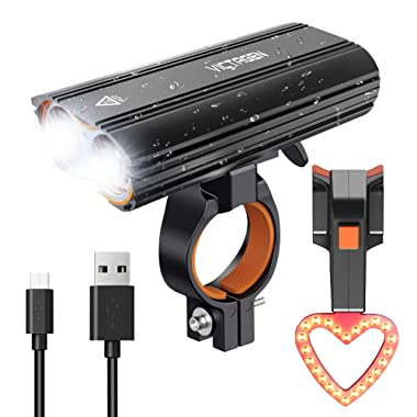 Victagen USB Rechargeable Bike Light Set, Super Bright 2400 Lumens Rechargeable Bike Tail Light Helmet Light, Waterproof Bike Headlight Taillight, Easy to Mount Fit Mountain Bikes