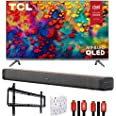 TCL 55R635 55-inch 6-Series 4K QLED Dolby Vision HDR Roku Smart TV Bundle with Deco Home Soundbar with Dual Subwoofers, Wall
