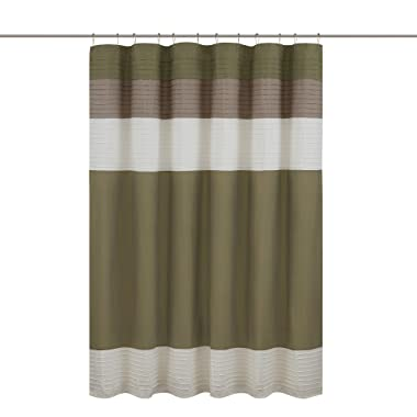 Comfort Spaces –Windsor Shower Curtain – Khaki - Brown – Panel Design - 72x72 inches