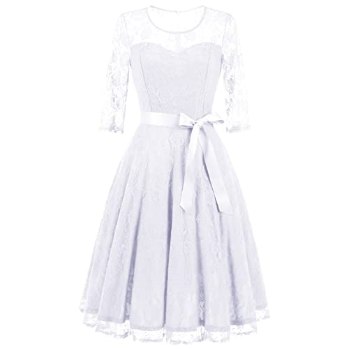 Lace white dresses amazon dressystar womens elegant floral lace dress 34 sleeves bridesmaid midi dresses illusion neckline mightylinksfo