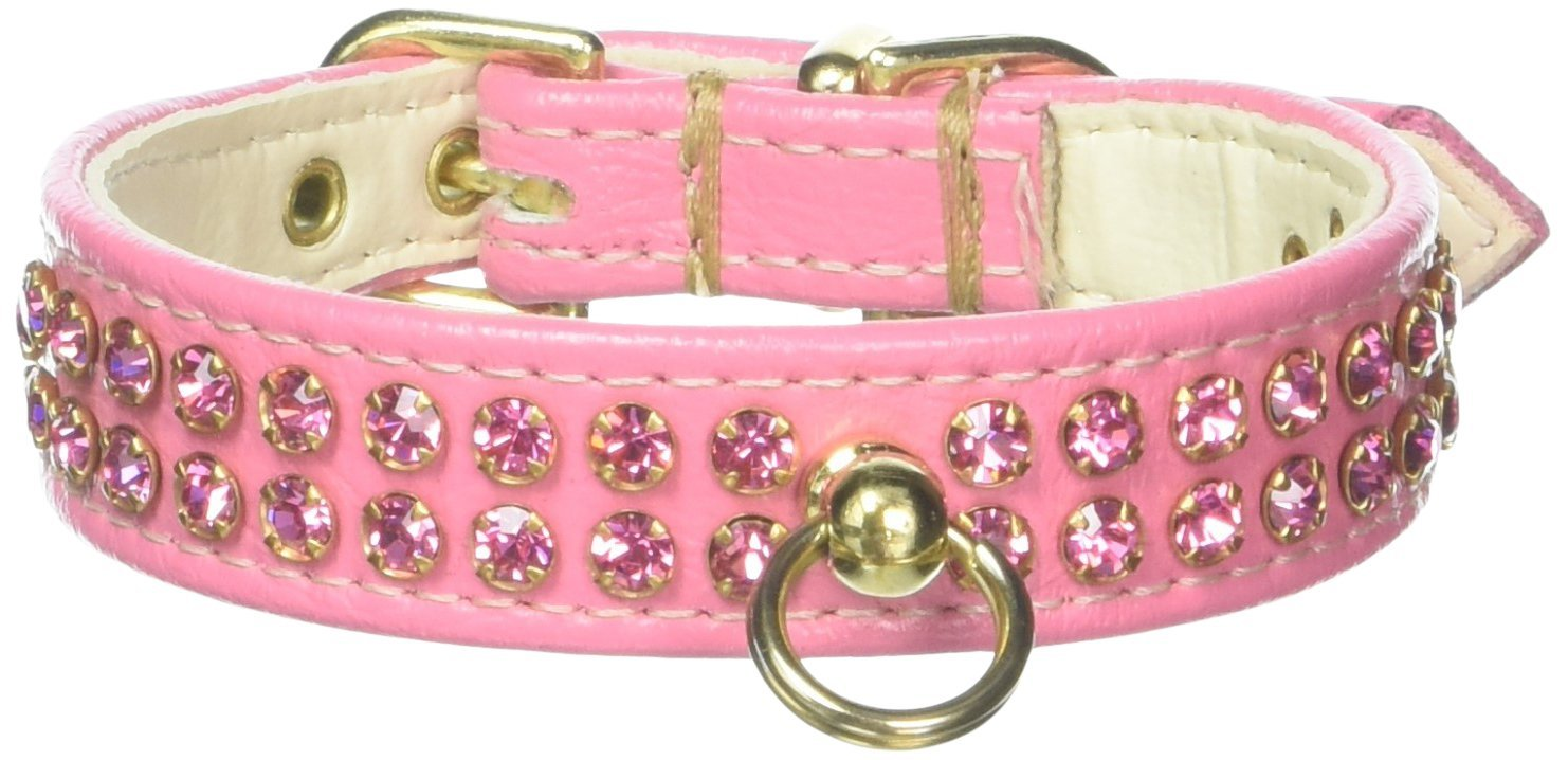 Mirage Pet Products Fleetwood Dog Collar, 12-Inch, Pink with Pink Stones