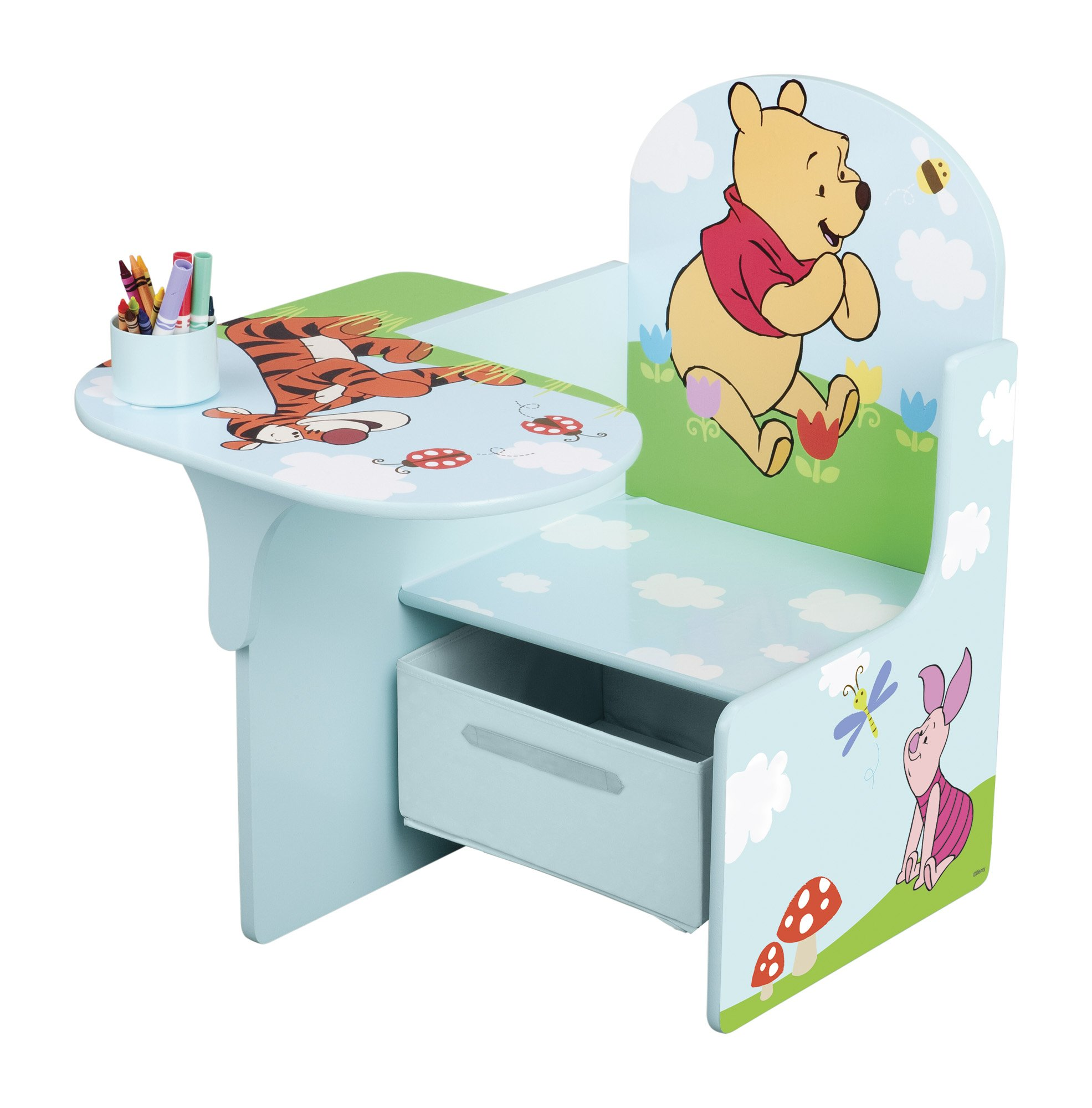 Delta, Poltroncina per bambini con tavolino laterale Winnie the Pooh in MDF, cassetto in canvas product image