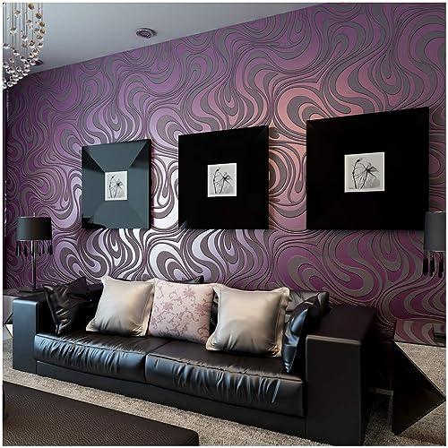 Superieur QIHANG Modern Luxury Abstract Curve 3d Wallpaper Roll Mural Papel De Parede  Flocking For Striped Purple