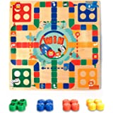 OMOTIYA Broad Game for Boys Girls Age 3 and up for 2 - 4 Players, 2 in 1 Wooden Flying Chess Family Game for Adults Kids and