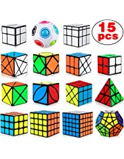 Dreampark Speed Cube Set, 15 Pack Cube Bundle 2x2 3x3 4x4 5x5 Megaminx Pyramid Skew Ivy Windmill Fisher Axis Dino Mirror Cube Magic Rainbow Ball Sticker Cube Puzzle Collection for Kids