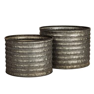 Decorative Galvanized-Metal Ribbed Planter Combo | Garden Decoration | Gardening Gift/Souvenir | Metal Flower Planter/Vase Decor