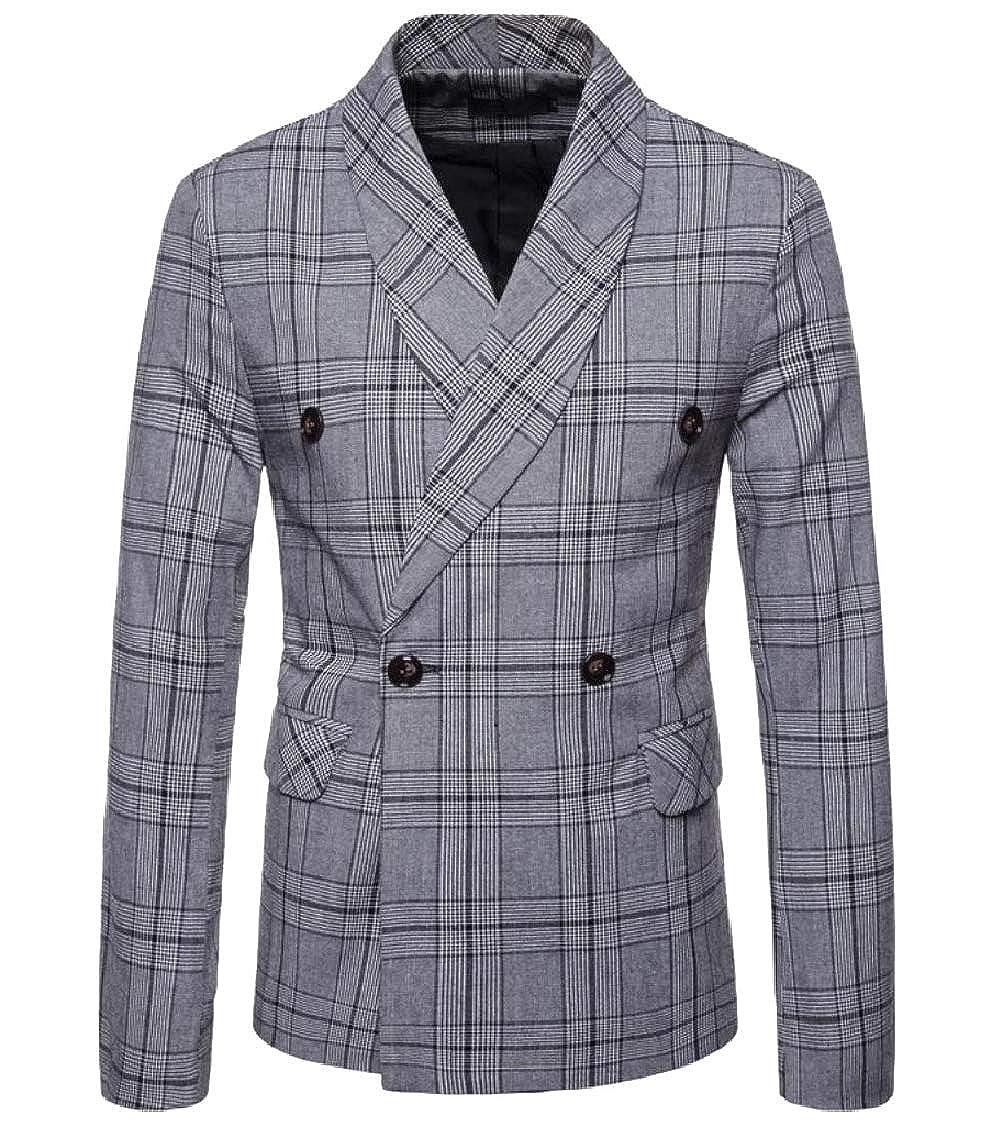 140e453b3 Light Grey Coolhere Men Blazer Plaid Double Breasted Plus Size Size Size  Business Sport Coat Jacket 97e67f