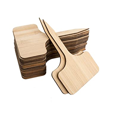 TIMEYARD 50pcs Bamboo Plant Labels Garden Markers T-Type Plant Tags