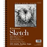 "Strathmore 455-3, 400 Series Sketch Pad, 9""x12"" Wire Bound, 100 Sheets, White"