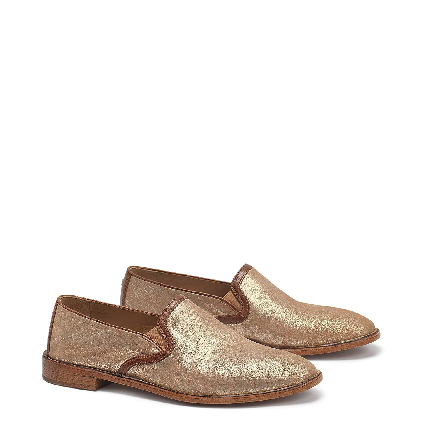 gold Metallic Sheepskin Trask Womens Ali Round Toe Loafers