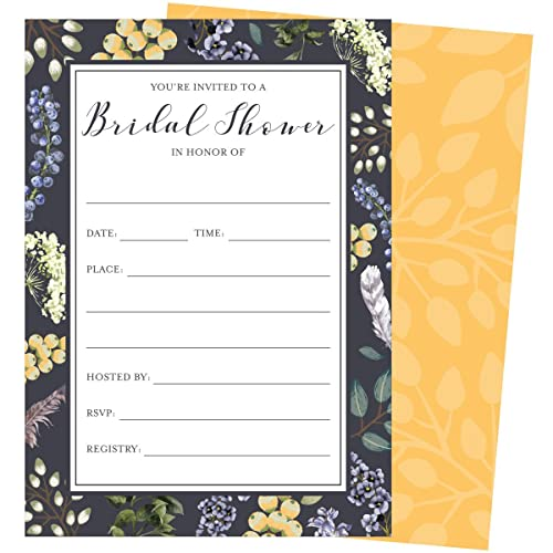purple floral bridal shower invitations set of 25 fill in style invites and envelopes