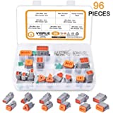 Electrical Wire Connector Plug - VIGRUE 96pcs 8 Sets 2 3 4 6 8 12 Pin 22-16AWG Waterproof Sealed Auto Gray Male and Female Te
