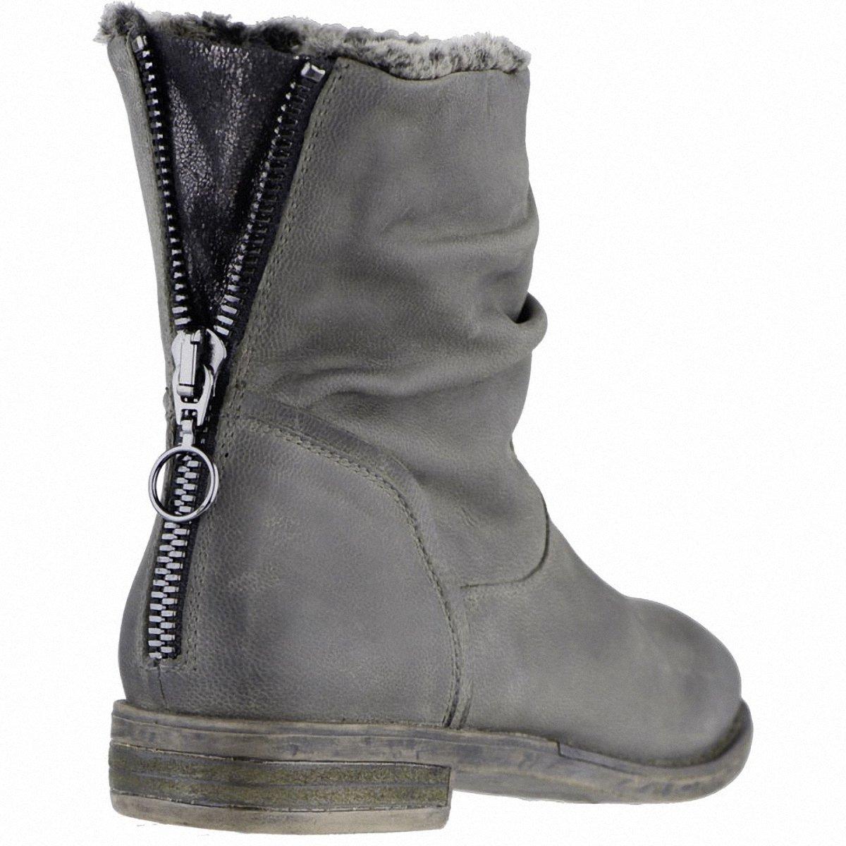 SPM kuschlige Damen Leder Leder Leder Stiefeletten grau Warmfutter Memory Fußbett Fersen-Reißverschluss 1639178 36 8562a6