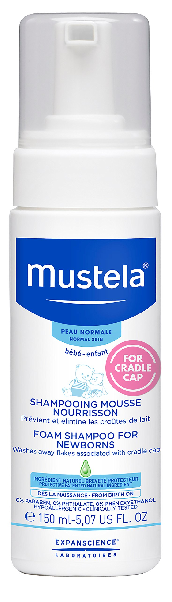 Mustela Foam Shampoo for Newborns, Baby Shampoo, Cradle Cap Treatment and Prevention, 5.07 fl.oz.