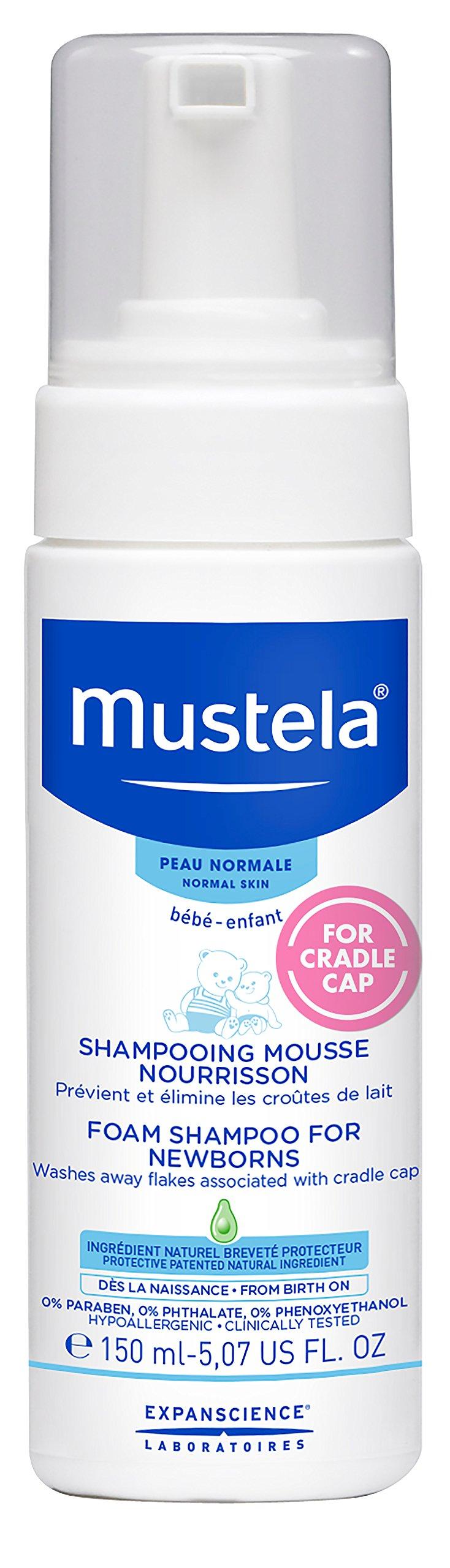 Mustela Foam Shampoo for Newborns, Baby Shampoo, Cradle Cap Treatment and Prevention, 5.07 fl.oz.
