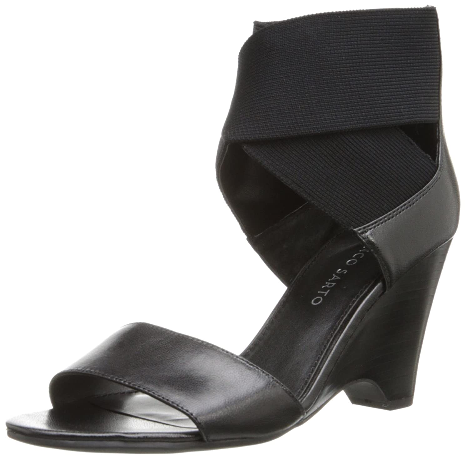 Franco Sarto Women's Texture Wedge Sandal B00F0AEVAU 8 B(M) US|Black