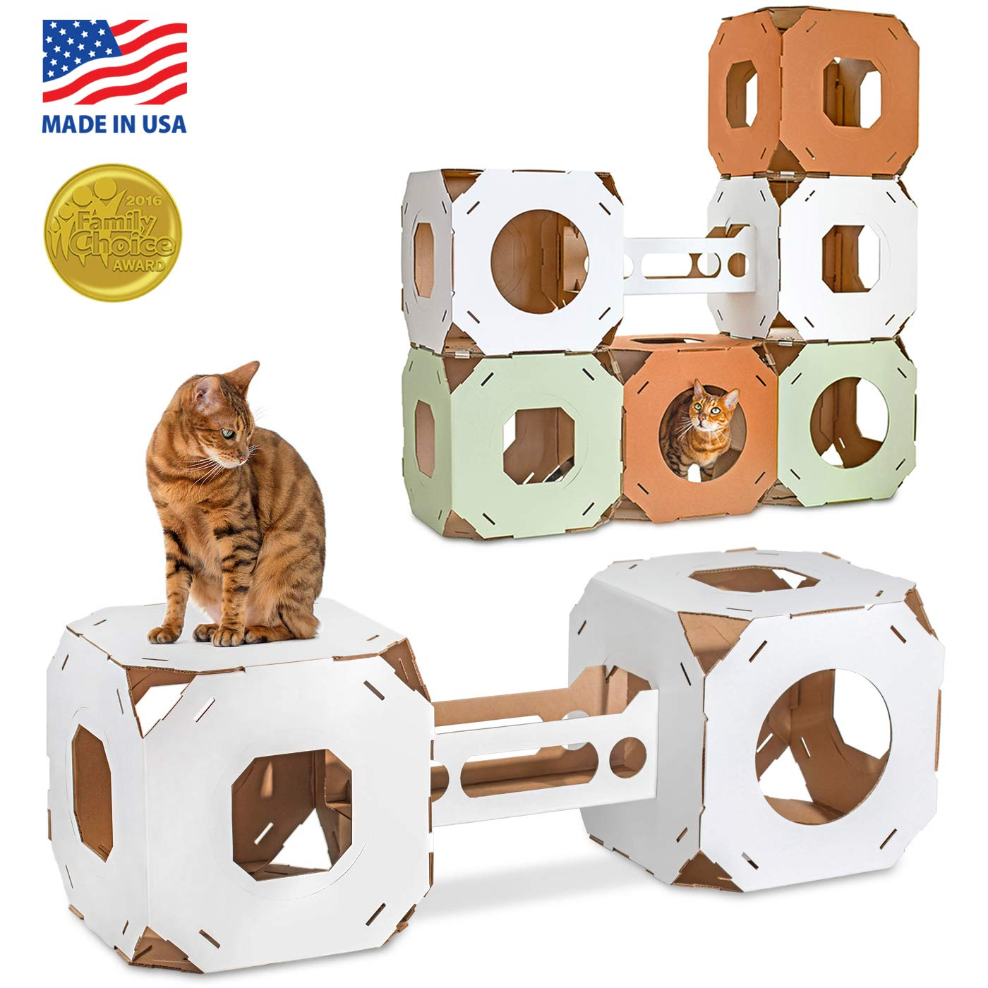 Catty Stacks STX2BSW 2 Modular Cat House Cubes con Bridge, White