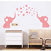LUCKKYY Elephant Family Wall Decal Removable Vinyl Wall Art Elephant Bubbles Wall Stickers Baby Nursery Wall Decor (Pink)