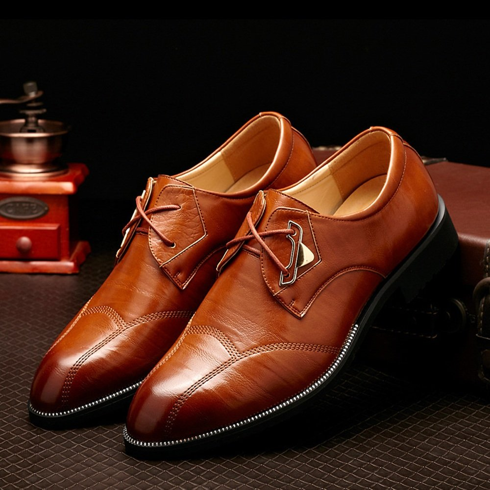 Lederschuhe Herren Lederschuhe Klassische Leder Kleid Schuhe Split PU Leder Klassische Lace up Business Formale Oxfords Schuhe Braun cf4d22