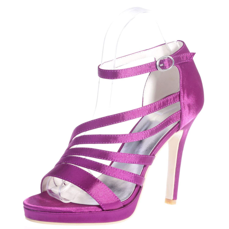 violet Elobaby Femmes Chaussures Chaussures De Mariée en Satin,MesLes dames Ivoire Talons Hauts Boucle Robe Peep Toe Fermé Talon De Mariée   11Cm  choix à bas prix