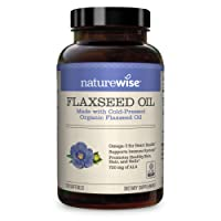 NatureWise Organic Flaxseed Oil Max 720mg ALA   Highest Potency Flax Oil Omega 3 for Cardiovascular, Brain, Immune Support & Healthy Hair, Skin, & Nails   Gluten Free Non-GMO [2 Month - 120 Softgels]