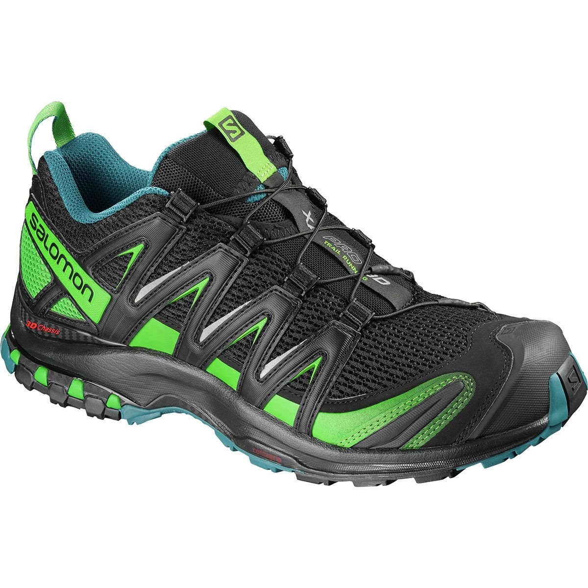 Salomon Men's XA Pro 3D Wide Trail-Runners B07CZX8K5D 14 D(M) US|Black/Deep Lagoon/Onlime Lime