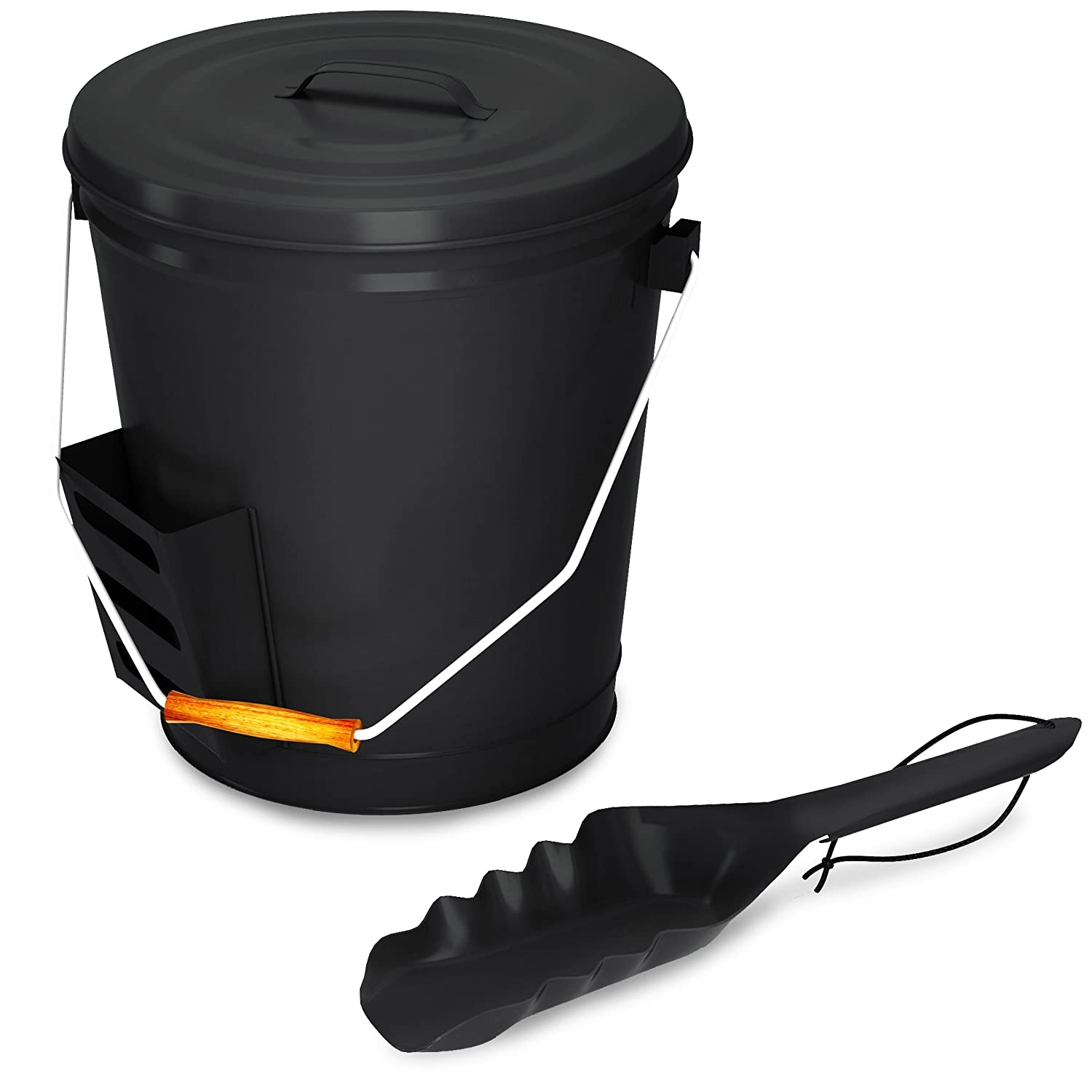 Buy Black Ash Bucket with Lid and Shovel For Fireplace - Great Wood Stove Ashes Accessories: Chimney Caps - Amazon.com ? FREE DELIVERY possible on eligible purchases