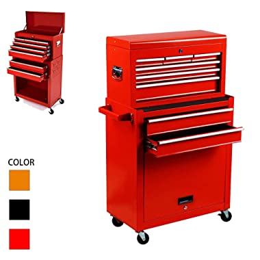 Tool Box Rolling 2 in 1 Portable Tool Chest Cabinet Top&Bottom Key Lockable Storage Toolbox with 4 Swivel Wheels (2pc with brake), 8-Sliding Drawers Removable Toolbox Organizer, Red