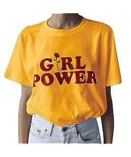 Pxmoda Womens Girl Power Print T Shirt Hippie Summer Tops (M, Yellow)