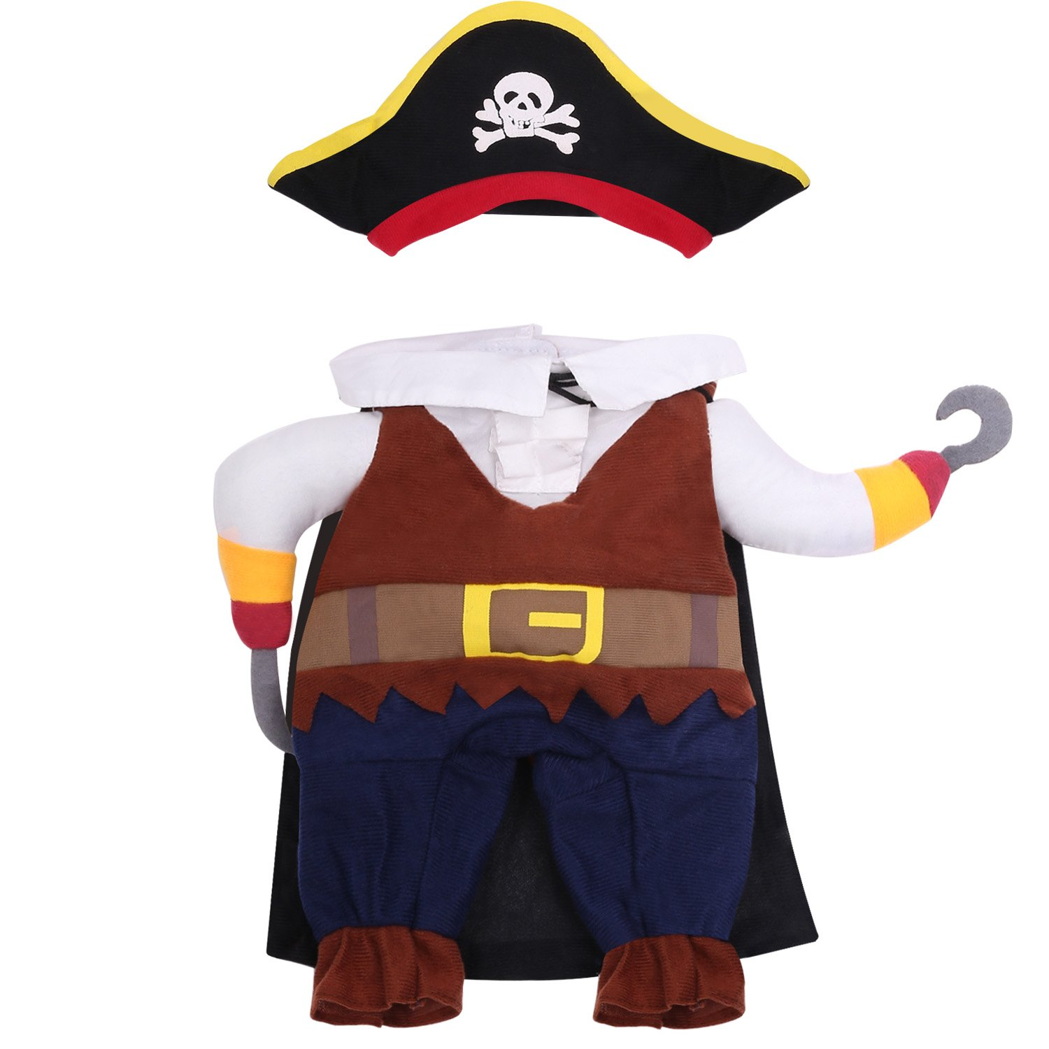 L Pawaboo Pet Costume, Funny Pet Dog Cat Clothes Pirate Costume Outfit Jumpsuit Clothes with Skull Hat of The Carbbean Style for Halloween Christmas, Large Size, Coffee