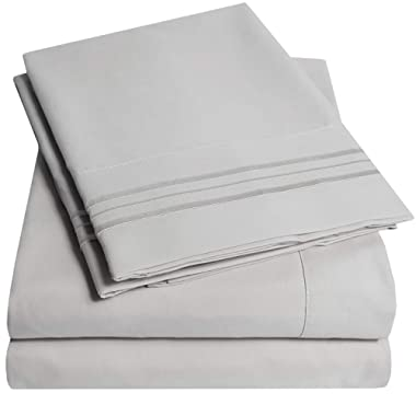 1500 Supreme Collection Bed Sheets Set - Luxury Hotel Style 4 Piece Extra Soft Sheet Set - Deep Pocket Wrinkle Free Hypoallergenic Bedding - Over 40+ Colors - California King, Silver